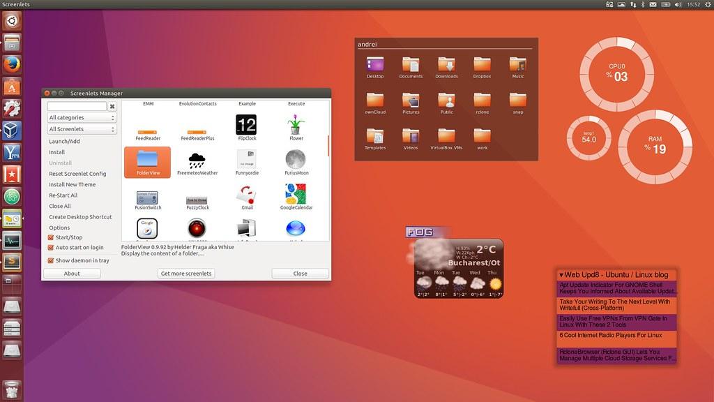 Виджеты в Unity в Ubuntu