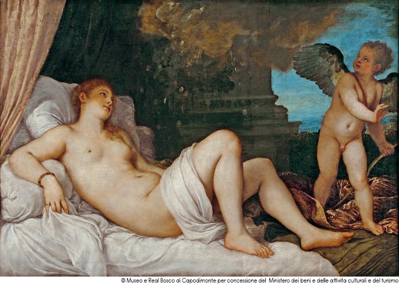ティツィアーノ・ヴェチェッリオ《ダナエ》(1544-46年、ナポリ・カポディモンテ美術館蔵)