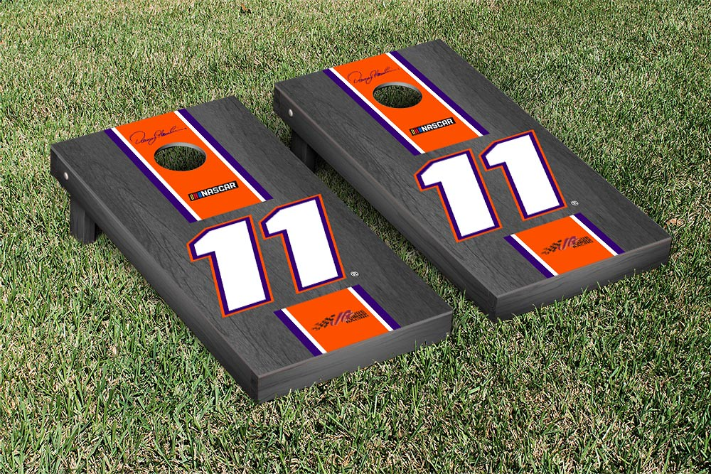 DENNY HAMLIN #11 CORNHOLE GAME SET ONYX STAINED STRIPE VERSION (1) (34421)