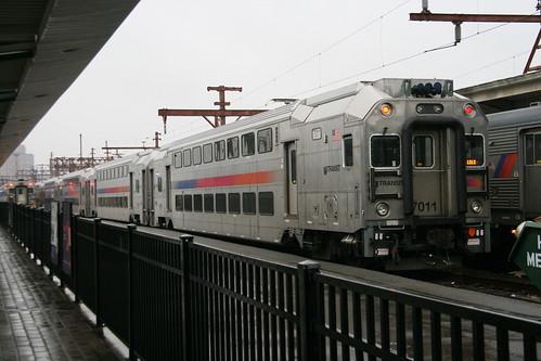 NJ Treansit Rail MultiLevel Coach in Hoboken station, Hoboken, New Jersey, US /Jan 24, 2017