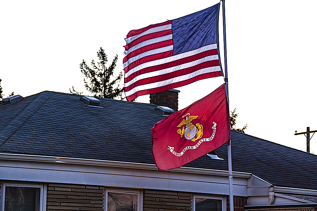 National and Marine flags--Livonia