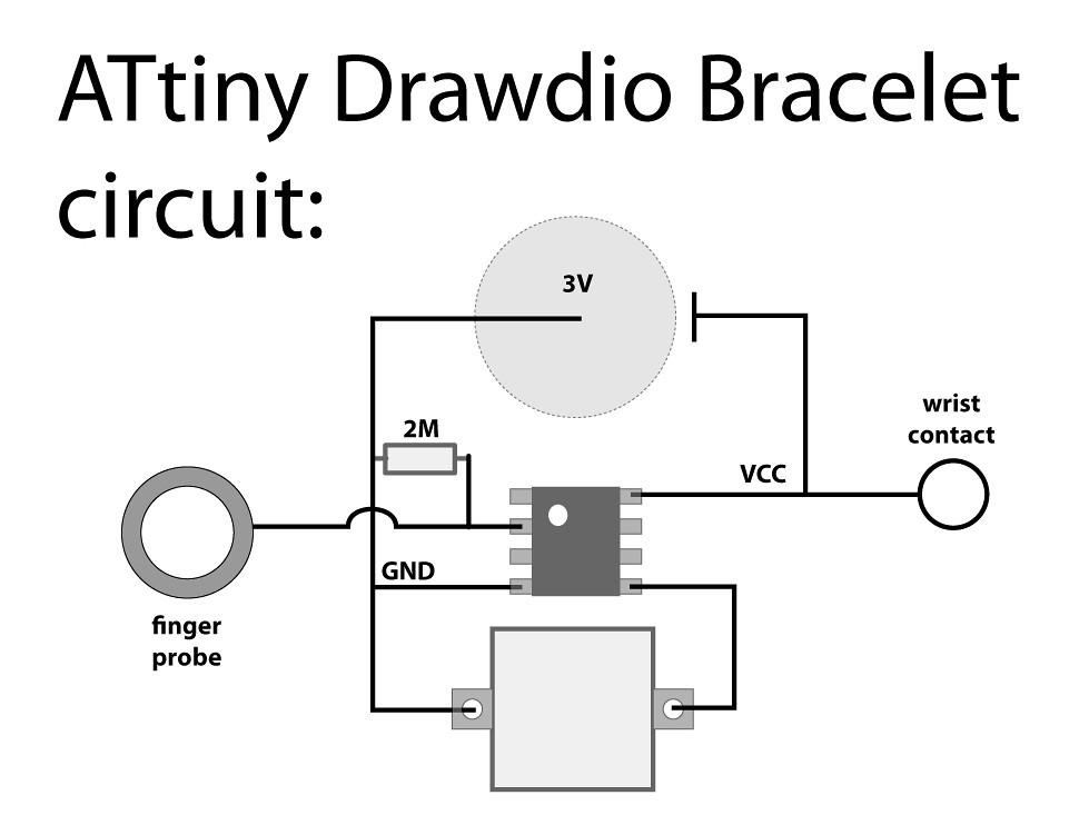 attiny drawdio bracelet schematic