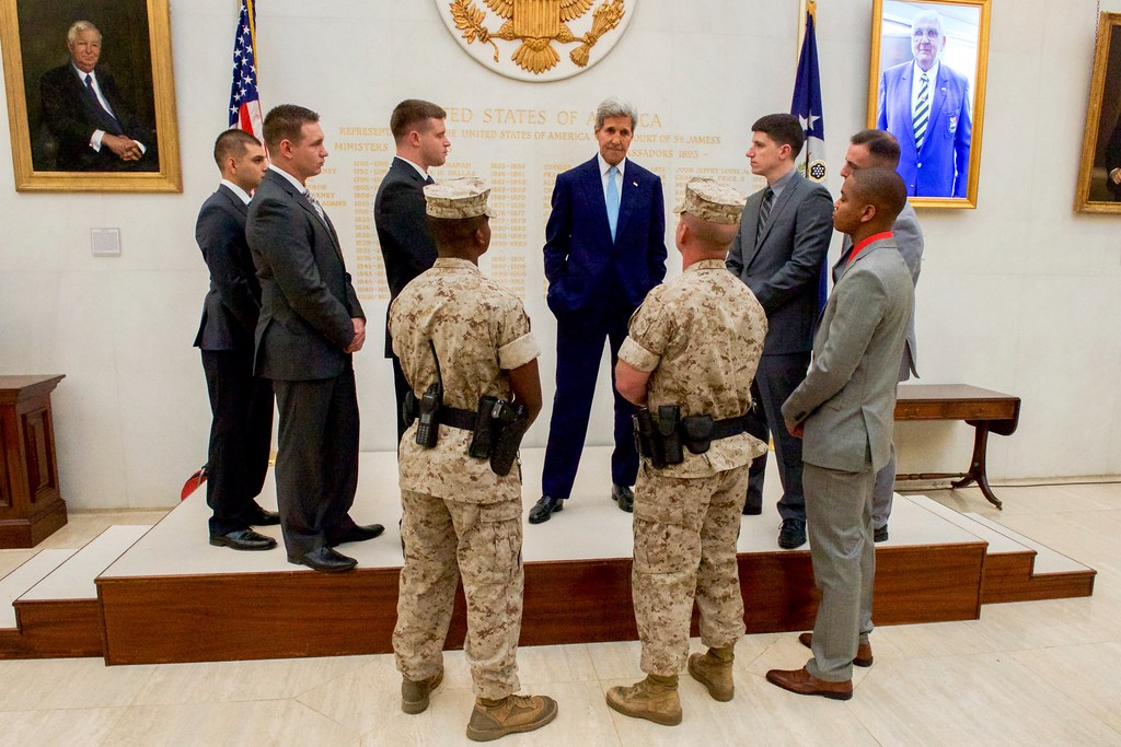 Secretary Kerry Chats With Marine Security Guard Detachment Members After Photo At Embassy London By