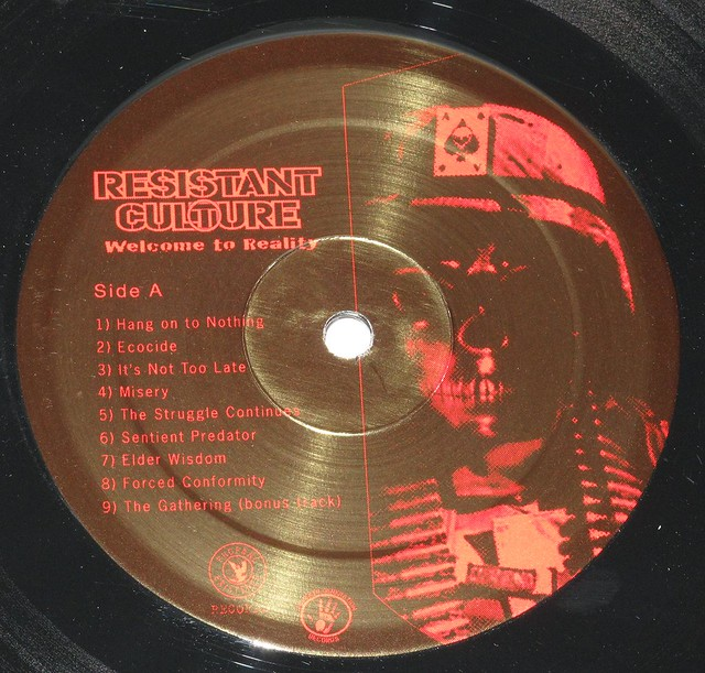 "RESISTANT CULTURE WELCOME TO REALITY LYRICS SHEET 12"" LP"