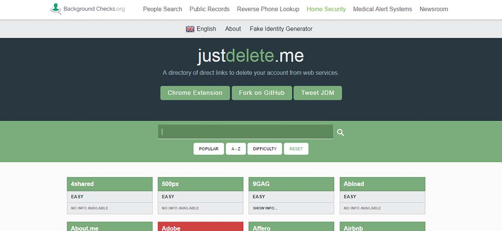 Extremely useful websites #1: Delete your profile and information from various websites.