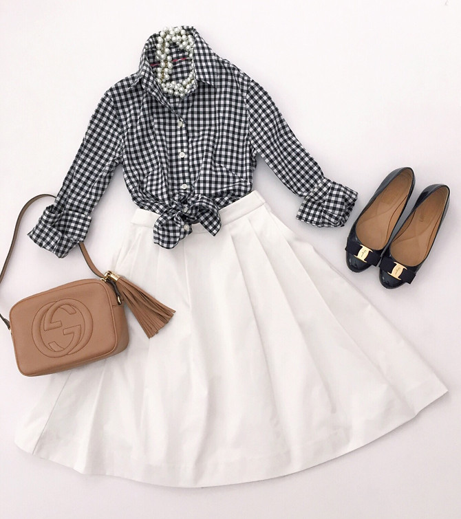 preppy classic gingham spring summer outfit petite style