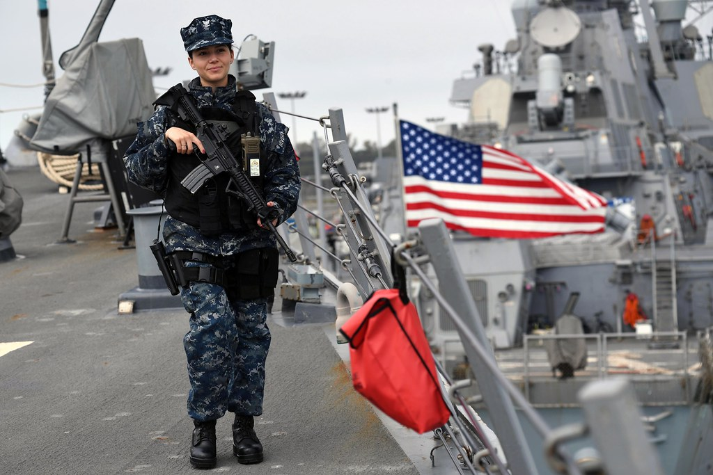 Sailor Stands Topside Rover Watch Aboard Uss Porter While