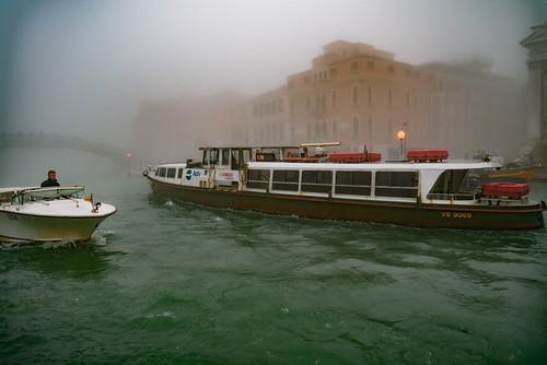 Venetian public transit in the fog