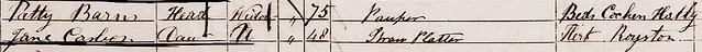 William C b1805 Royston Jane C b1803 Royston 1851 Census Meld