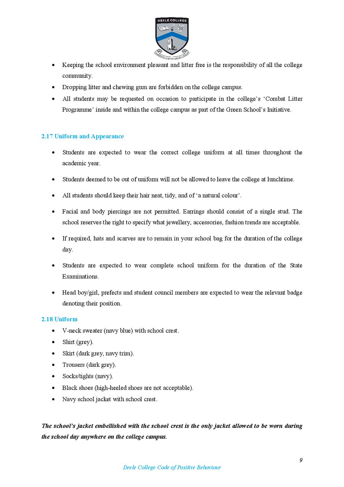 Deele College Code of Positive Behaviour Booklet 2016-page-009