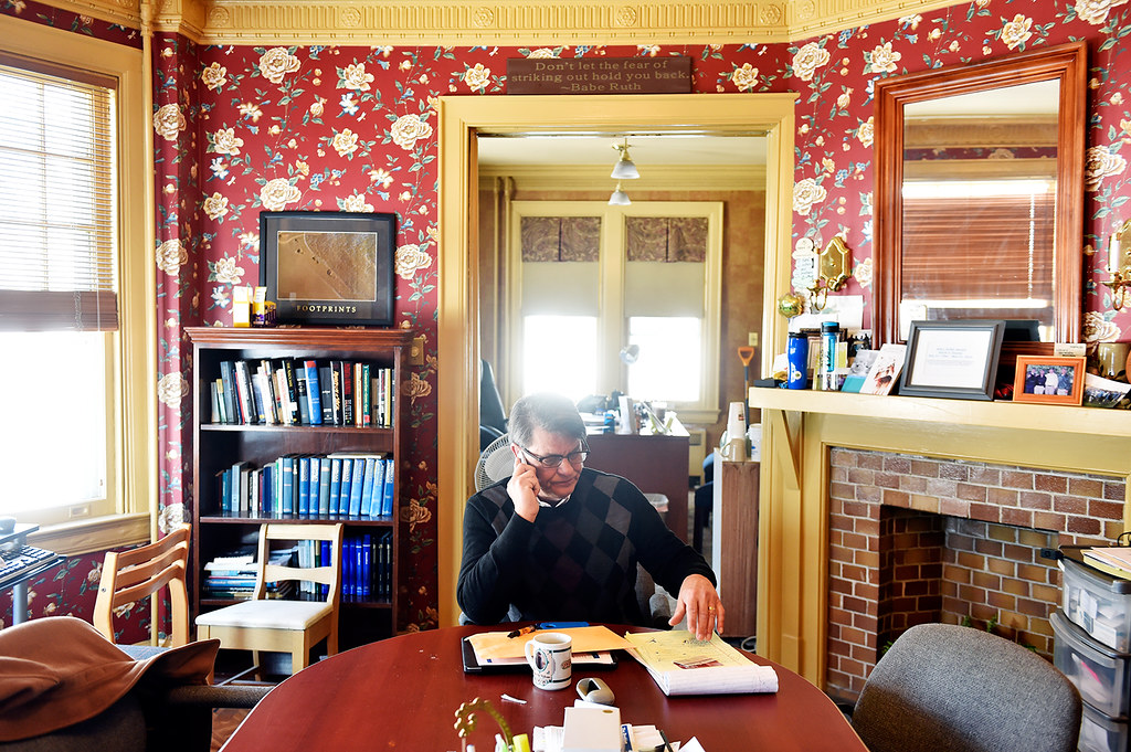 © 2016 by The York Daily Record/Sunday News. Dave Dunkel, owner of Sees-the-Day, makes a phone call in the recovery house company's East Market Street office on Wednesday, Feb. 10, 2016. Sees-the-Day operates 14 recovery houses for a total of 93 beds in York.