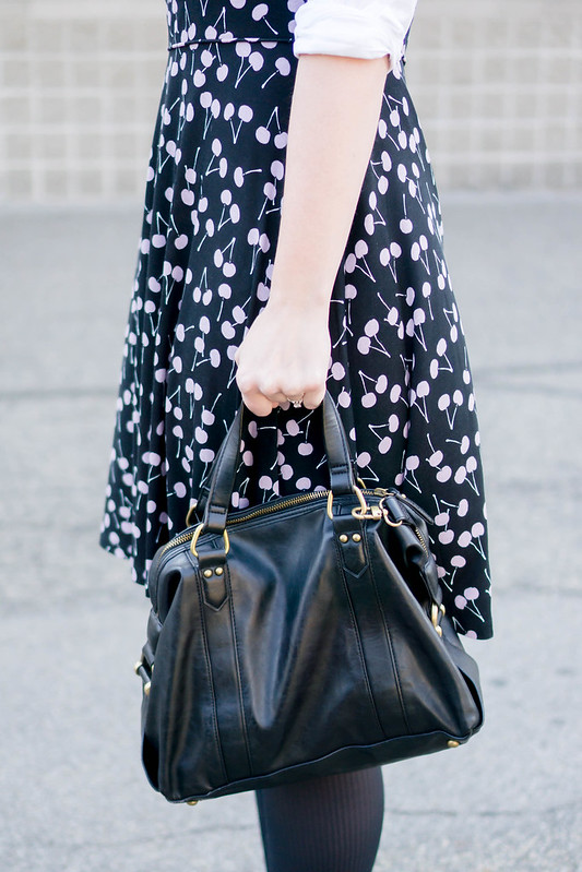 black cherry print dress Loft + white button down shirt + black tights + black Ferragamo shoes; work outfit | Style on Target blog
