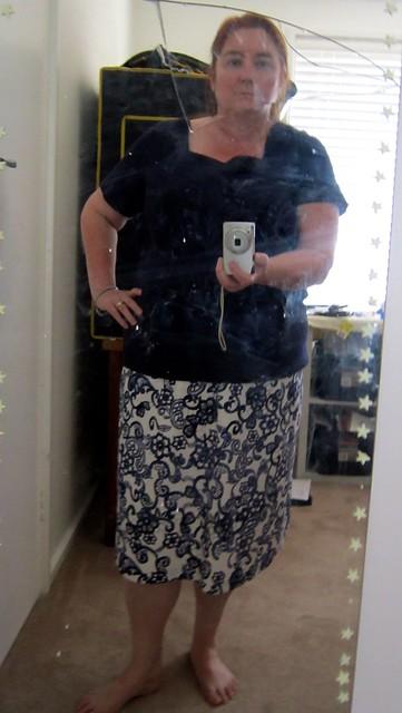 Navy paisley skirt