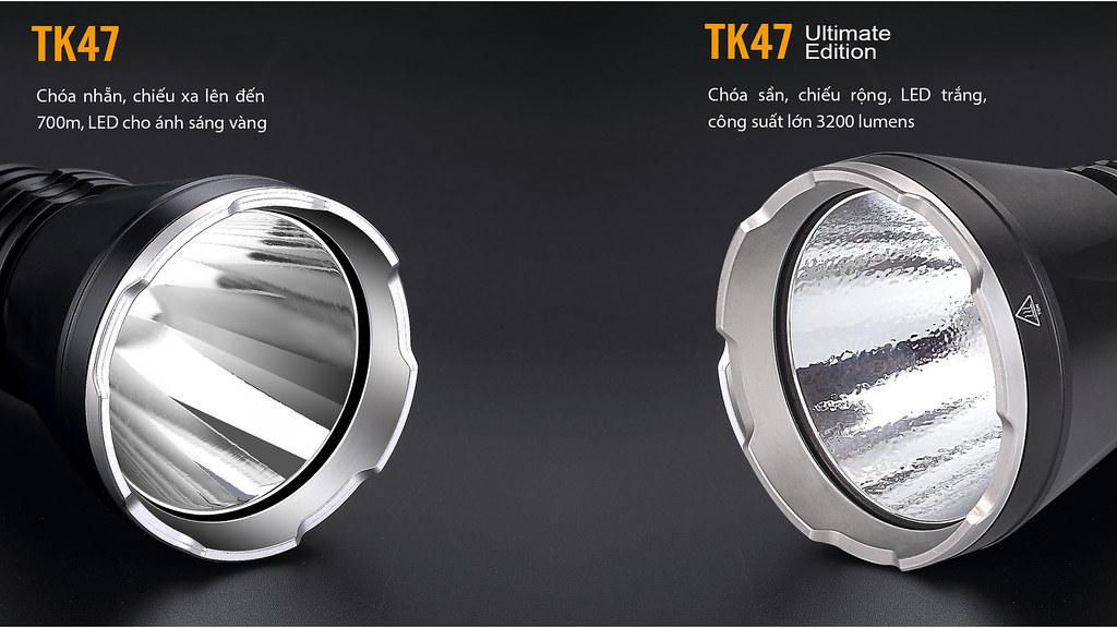 So sánh Đèn pin Fenix TK47 và TK47UE
