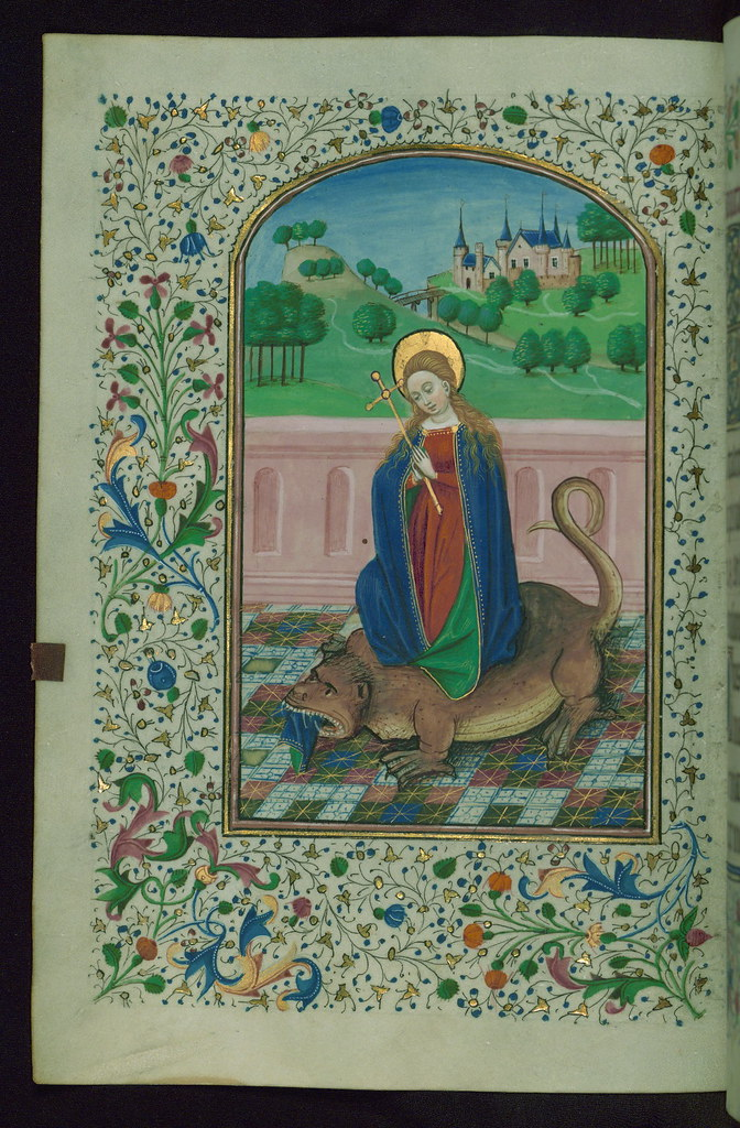 book of hours  st  margaret issuing from dragon  walters m