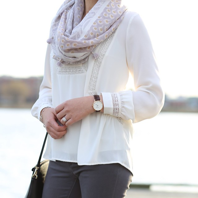 LOFT Lacy Split Neck Blouse Outfit