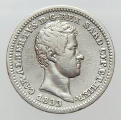 1833 Kingdom of Sardinia 50 Cent obverse