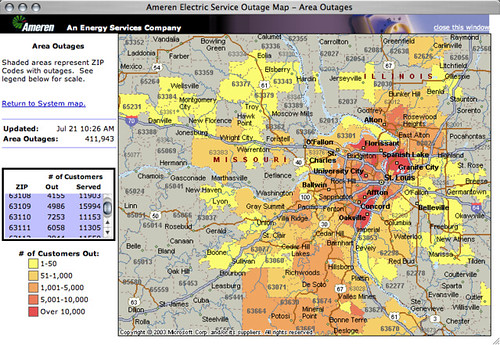 Ameren UE's Electricity Outage Map updated Jul 21 10:26 AM… | Flickr