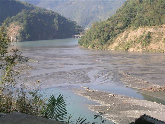 武界壩的上游淤積嚴重。圖片提供:徐蟬娟。