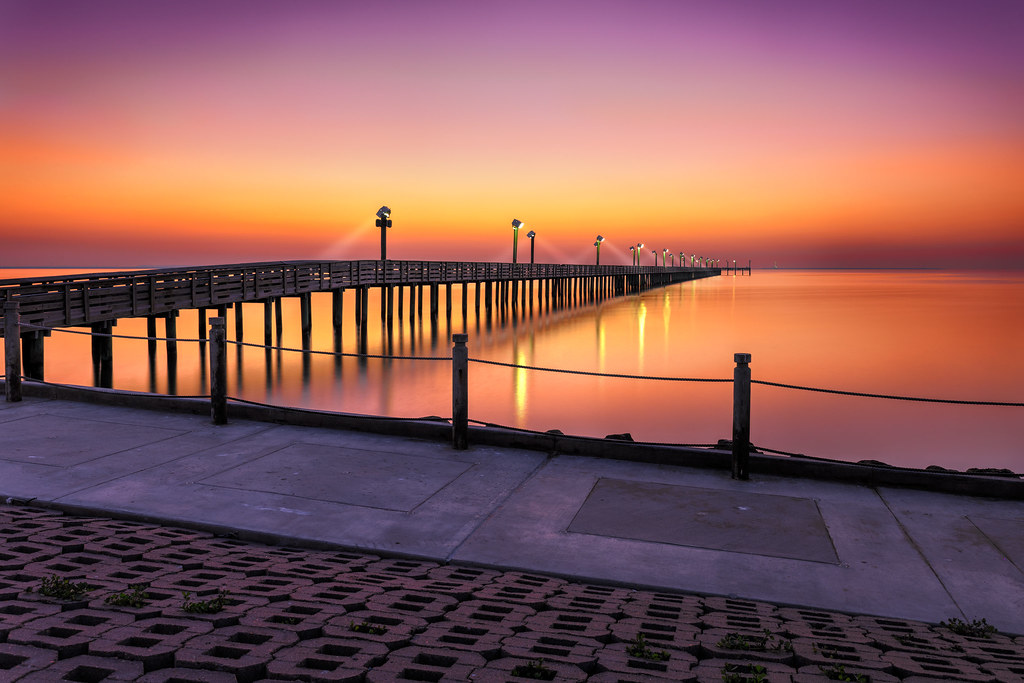 Sylvan beach fish pier before sunrise this beach is in for Jobs in la porte tx
