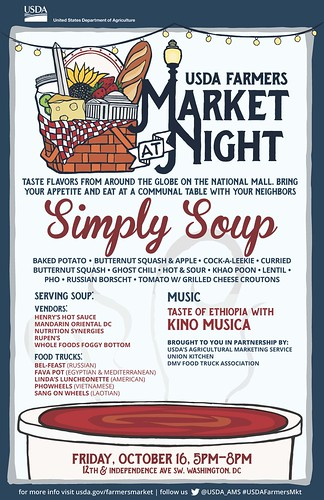 USDA Farmers Market at Night Simply Soup poster