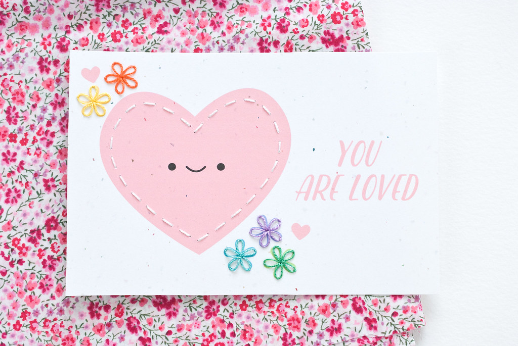 You Are Loved - Printable Stitchable Valentine