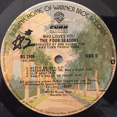 THE FOUR SEASONS:WHO LOVES YOU(LABEL SIDE-B)