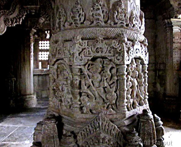 Mahishasur Mardan, pillar of Mandap, Sahastrabahu Temple, Nagda, Udaipur