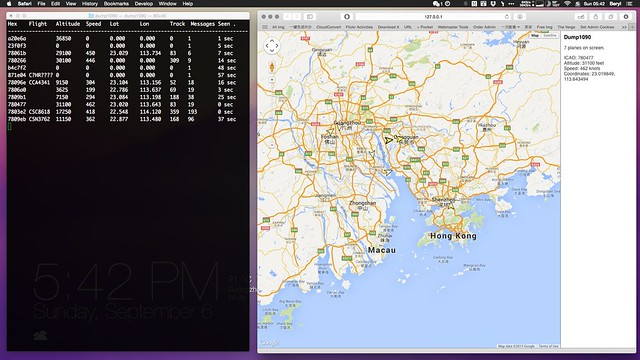 Dump 1090 with aircraft infos and Safari browser showing Google Maps with aircraft icons