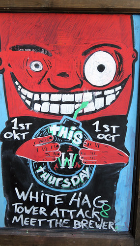A chalkboard advertising the White Hag Tap Takeover at the Salt House, a Galway Bay craft beer pub in Galway, Ireland