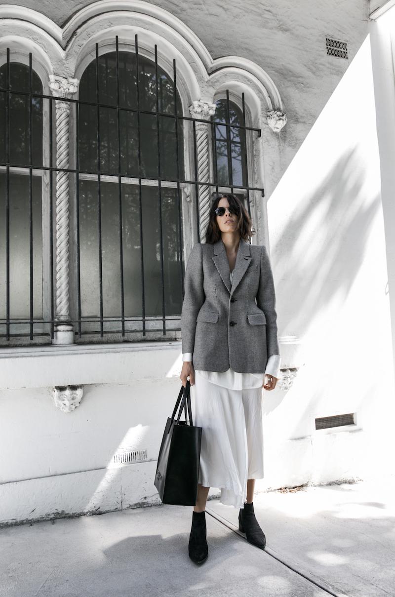balenciaga houndstooth blazer street style trend grey white minimal fashion blogger modern legacy Acne Studios Jensen ankle boots Givenchy logo tote (13 of 15)