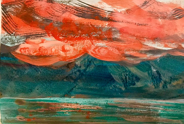 Copper mountain sunset study. Acrylic on paper.