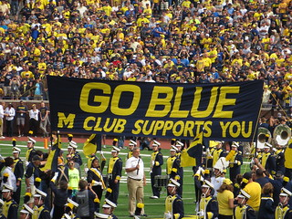 Go Blue, M Club Supports You Banner, Michigan Stadium, Uni ...