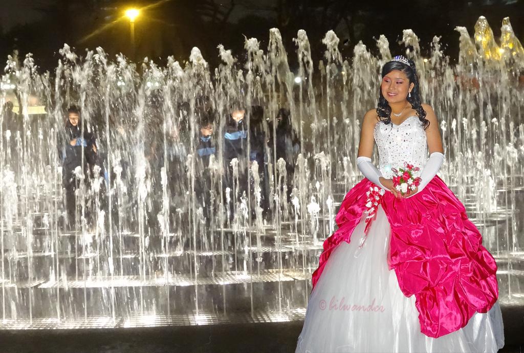 peru lima girl in quincea era dress posing infront of fou