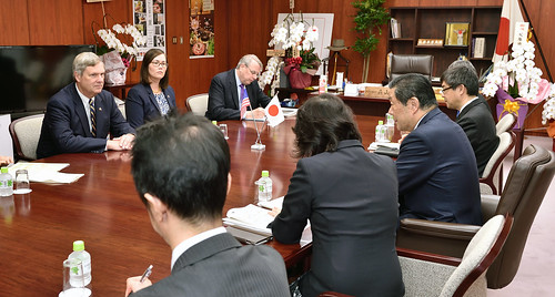Agriculture Secretary Tom Vilsack and Deputy Under Secretary for Farm and Foreign Agricultural Services (FFAS) Alexis Taylor discuss the Trans-Pacific Partnership (TPP) implementation and export opportunities with Japanese Minister for Agriculture, Forestry and Fisheries, Hiroshi Moriyama in Tokyo, Japan on Nov. 20, 2015