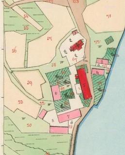 Zbýšov (KH), výřez mapy Stabilního katastru: Hospodářský dvůr s kostelem