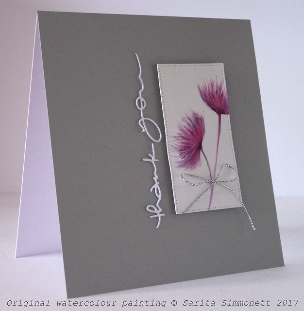 Watercolour flower handmade card 1a