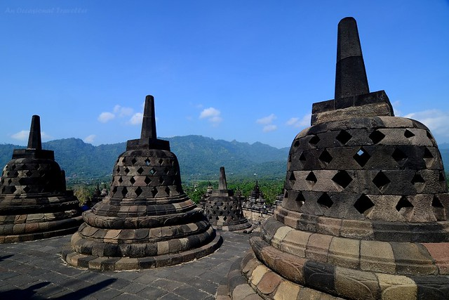 Borobudur stupas overlooking a mountain