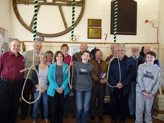 ringers gathered at St James for 'Believe-in-Barrow' visit from Canon Roger Simpson