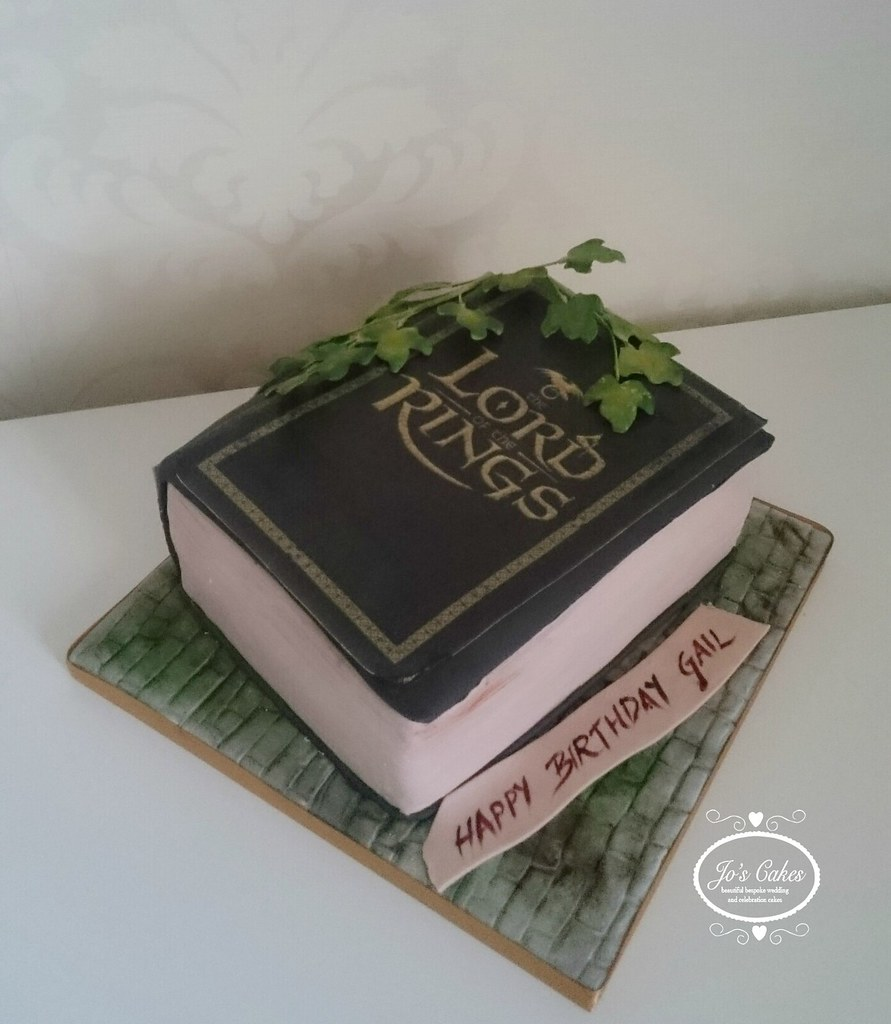 Lord Of The Rings Book Themed Birthday Cake White Rose Cake Design