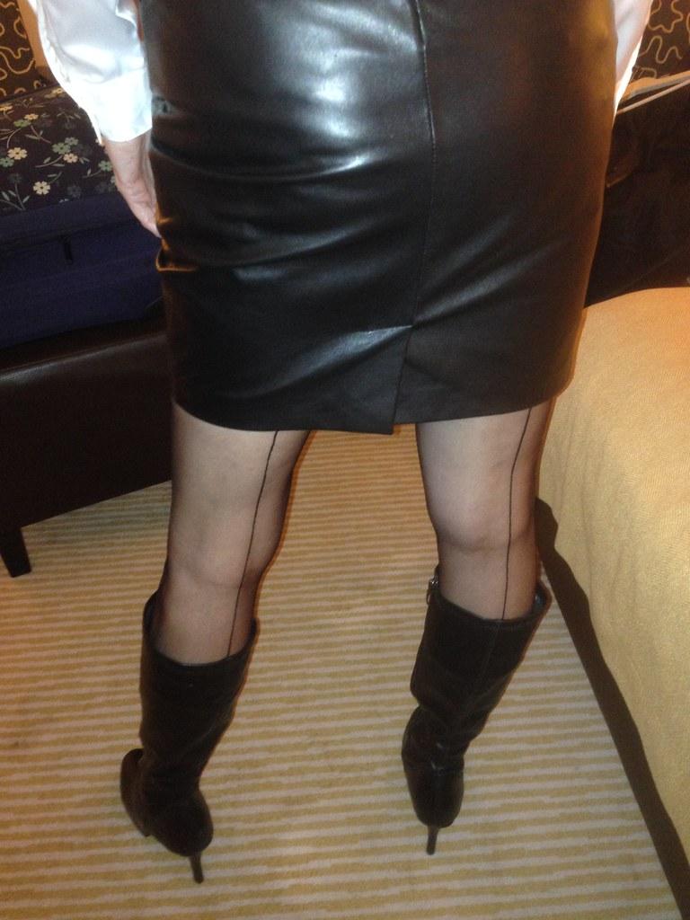 skirt Mature stocking leather