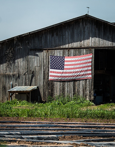 Barn side flag in rural america.