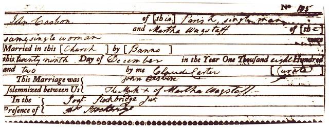 1802 John Casbon Martha Wagstaff M Meld