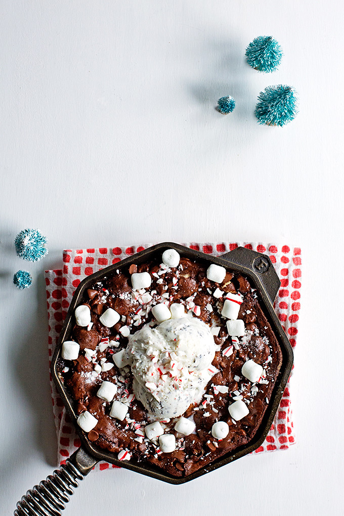 Candy Cane Marshmallow Skillet Brownie by @cindyr