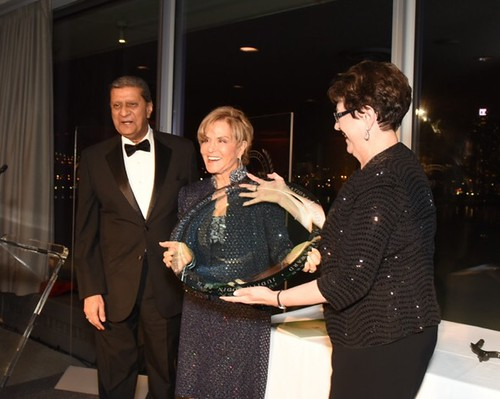 Amir Dossal looks on as Judith Rodin is recognized as the 23rd International Quality of Life Award Laureate.