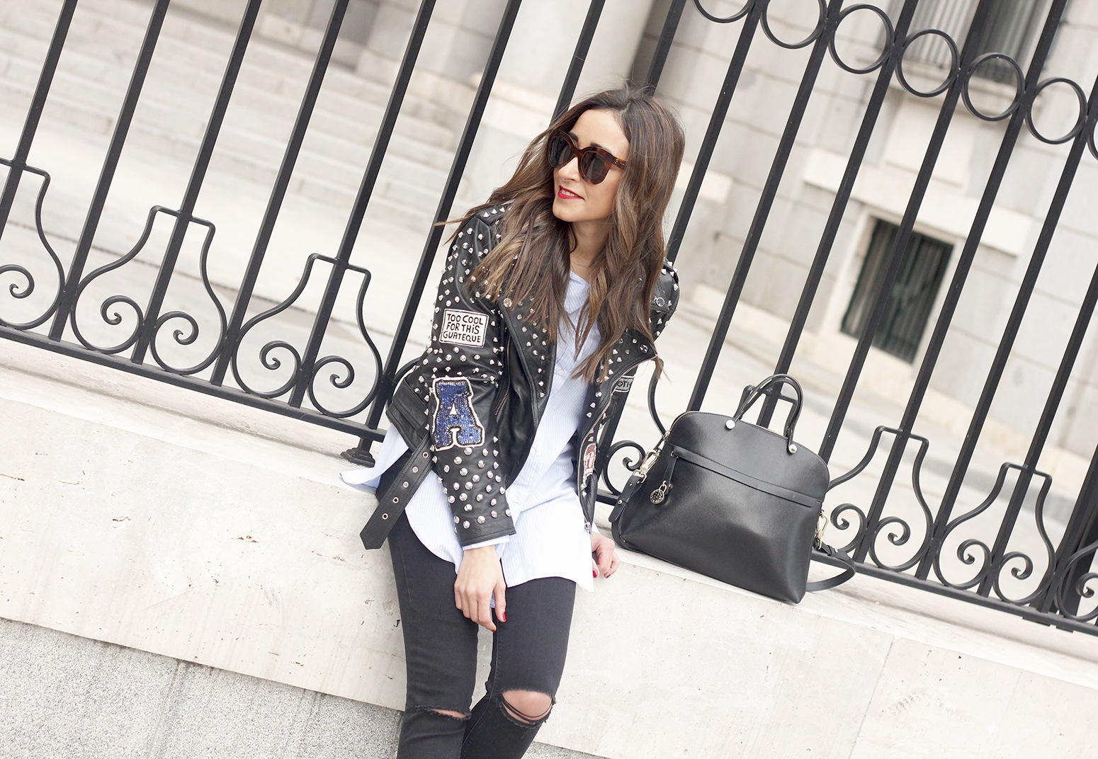 Leather Jacket With Studs And Patches ripped jeans heels furla bag céline sunnies01