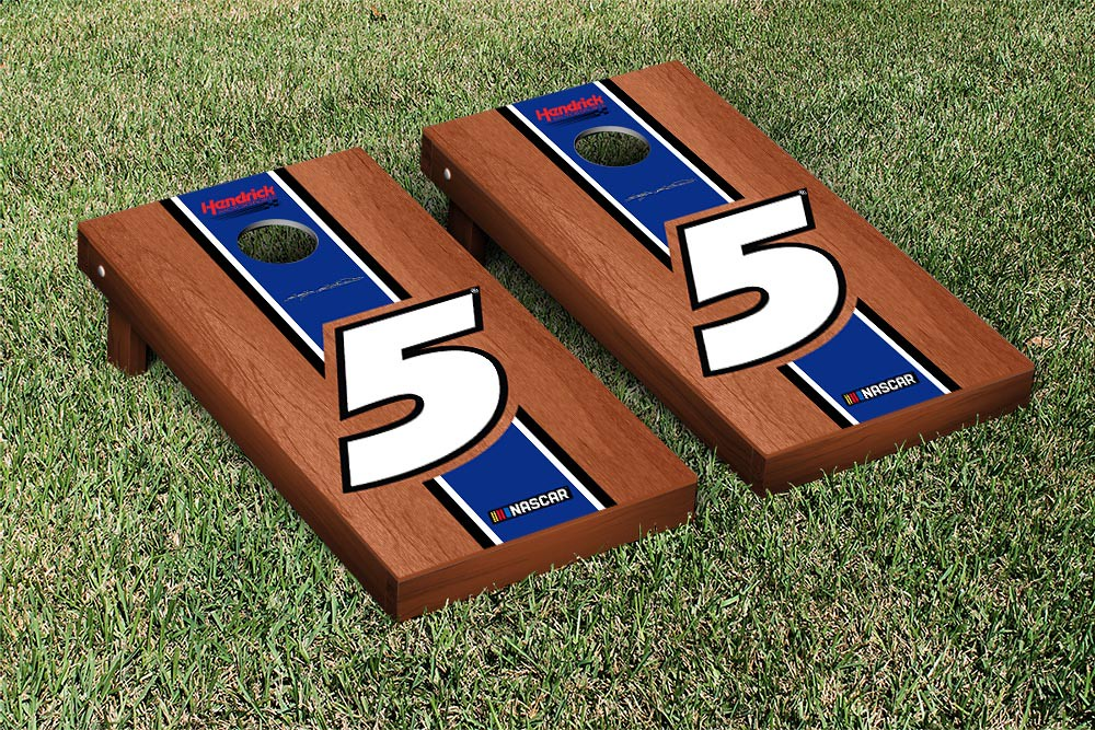 KASEY KAHNE #5 CORNHOLE GAME SET ROSEWOOD STAINED STRIPE VERSION