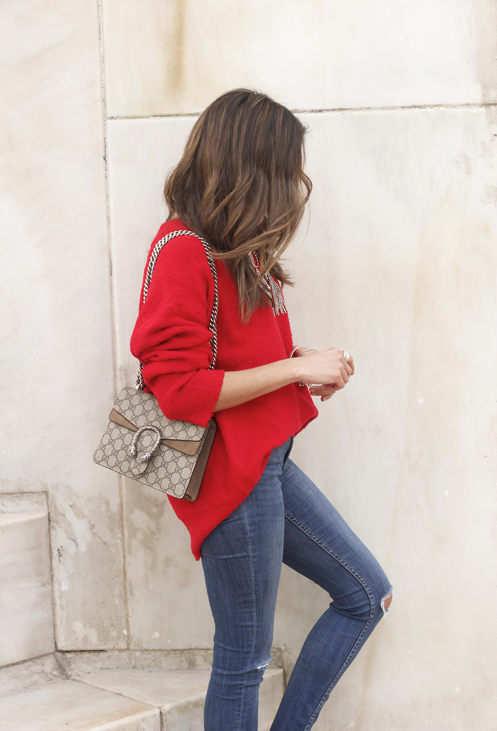 Mules Red sweater Ripped Jeans gucci bag céline sunnies fashion outfit style trend10