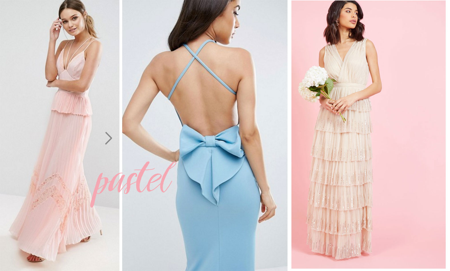 Pastel black tie dresses for Barristers' Ball