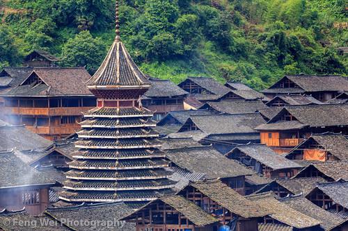 Huanggang Dong Village, Guizhou China   贵州-从江-黄岗侗寨 A drum ...